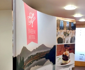Exhibition fabric display design by Upper Case in Cork